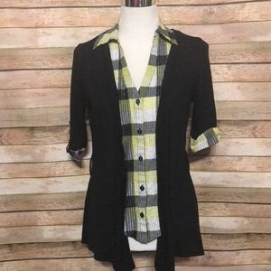 Tops - Blouse with built in cardigan